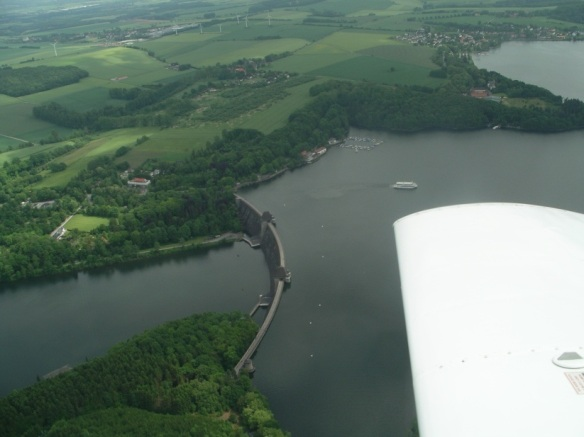 A view of the Mohne Dam from the air.