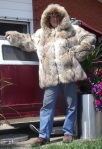 Me displaying a 1930's coat made from Timber wolf pelts (it did smell a bit musty)