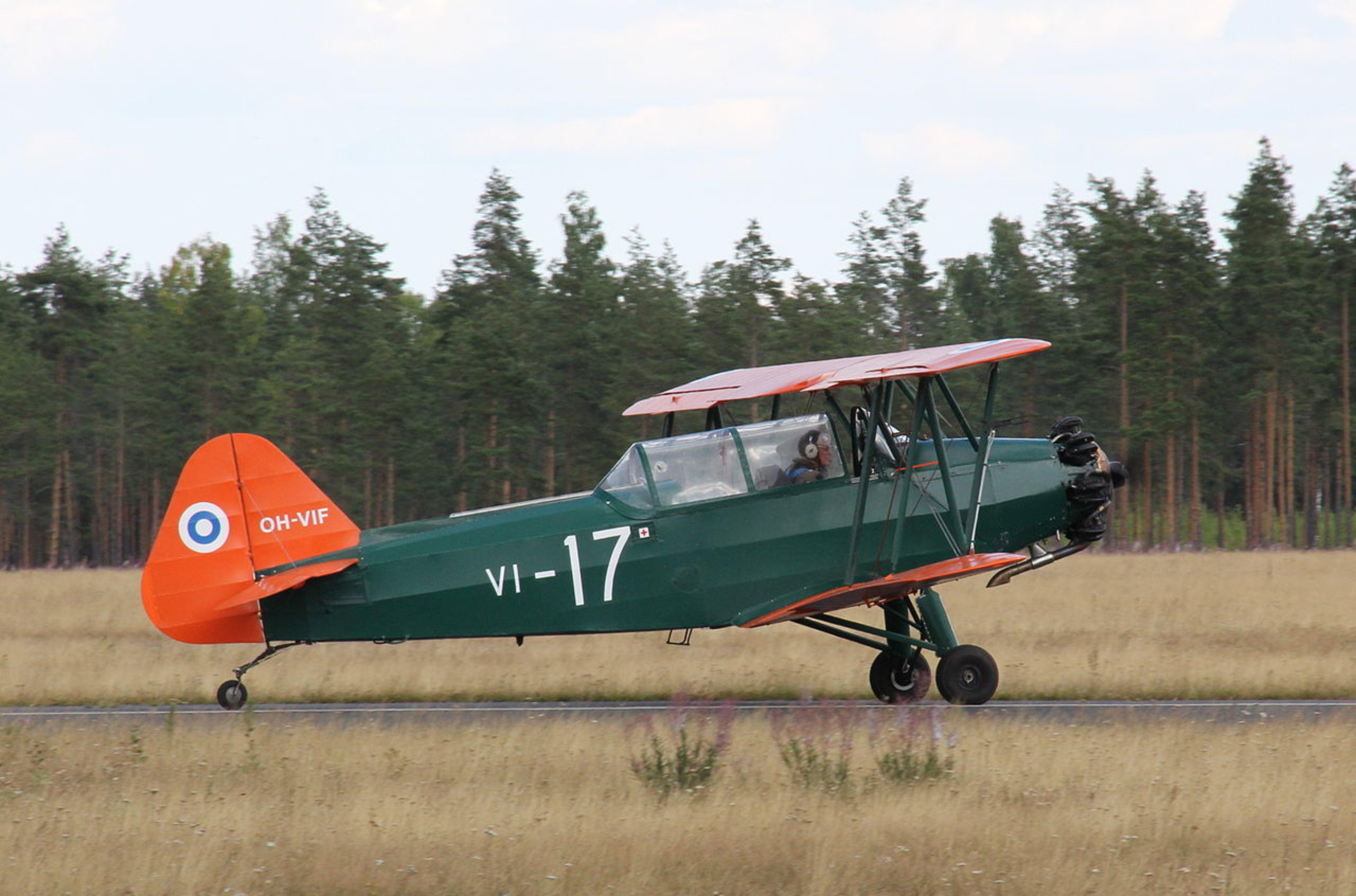 A Vilma II biplane on the ground.
