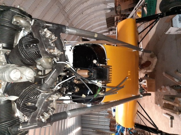 The underside of the engine instalation of a Klem aircraft.