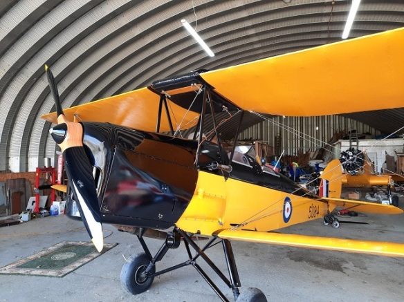 A sparkling clean yellow Tiger Moth parked in a hangar