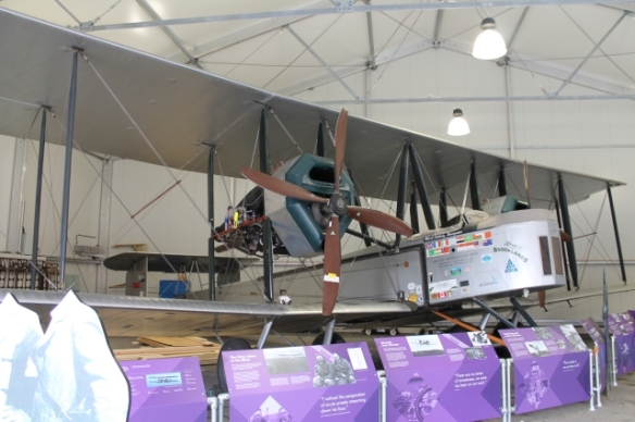 An oblique view of the replica Vickers Vimy aircraft as flown by Alcock and Brown on the first trans-Atlantic flight.